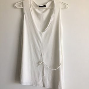 Zara Basic Collection White Sleeveless Top